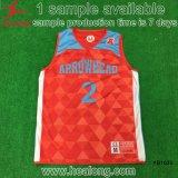 Disegno su ordinazione della Jersey della maglietta giro collo di pallacanestro di sublimazione rovesciabile di Healong