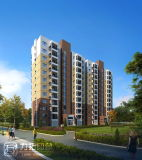 Lavoro esterno della rappresentazione di alta di aumento prospettiva dell'edificio residenziale