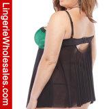 Lingerie sexy positive de Babydoll de satin de vert de taille et de jupe de maille pour des femmes