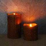 Der Driping flammenlose Kerze-Wachs-Pfosten, gesprenkelte Pekannuss, 2 Satz