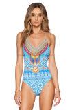 Einteiliger gerüttelter Dame-reizvoller aufgefüllter Bikini