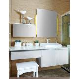 2014 Oppein Lacado Blanco Integrado Corner Gabinete de baño