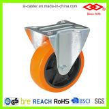 Orange PU-Schwenker-Platten-Fußrollen (P101-36D075X25)