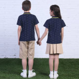 Camisa de polo azul de la manera del verano de la alta calidad primaria de encargo del uniforme escolar y cortocircuitos de color caqui y falda