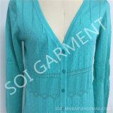 Chandail tricoté élégant de cardigan de dames en gros légèrement (SOITSW-63)
