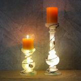 Suportes de vela de vidro antigos dos castiçal de Matt do vintage