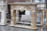 Camino beige Sy-307 del marmo del travertino intagliato mano antica