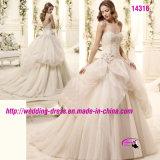 Schöne Prinzessin Sweetheart Gowns Dress Wedding mit V-Ausschnitt Rückseite