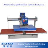 Machine pneumatique de presse de la chaleur de T-shirt de stations de double d'Upglide