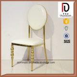 Nach Maß weißes Leder-goldener runde Rückseiten-Edelstahl-Stuhl
