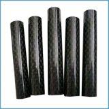tubo vidrioso del carbón de la tela cruzada 3k del carbón del tubo puro hueco de la fibra