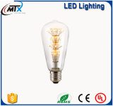 LEDエジソンの電球E27 3W型のエジソンLEDの球根、ST64 LEDのフィラメントのガラス軽いランプ、暖かく白い省エネランプ軽いAC220V