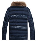 Men Leather Casual Fur Collar Warm Winter Design imperméable en PU Veste (J-1618)