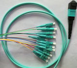 12ファイバー3m MPO MTP-LCの繊維光学の端末増設機構のパッチ・コード