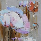 抽象的な花の油絵の壁の芸術