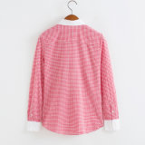 형식 100%Cotton 긴 소매 검사 여자 셔츠