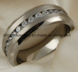 Joyería Shineme anillo de titanio circón de acero inoxidable de alta calidad
