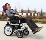 Cadeira de rodas elétrica de dobramento da potência de bateria do lítio do alumínio portátil de pouco peso do curso 2017 no carro