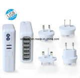6 carregador do telefone do USB do carregador Home portuário 100-240V 5V 4A do USB multi