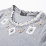 Ladies Grey Beaded T-Shirt Fleurs Stringy Selvedge Collar T-Shirts