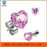 Goujon rose d'oreille de bijou de mode d'acier inoxydable de marqueterie de Zircon (ER2665)