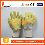 Gants fonctionnants enduits par latex jaune Dcl403 de coton