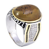 A jóia da forma 925 cores de prata do anel dois chapeou anéis árabes dos homens