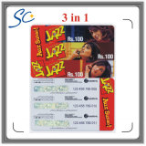 Documento de amostra grátis Custom Prepaid Scratch Card com 3in1 / 4in1 / 5in1
