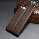 avec la caisse en cuir d'unité centrale de caisse de téléphone de slot pour carte pour l'iPhone