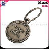 Antigüedad única barata Keychains del metal del metal de encargo oval de la dimensión de una variable