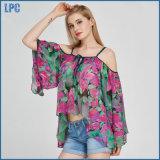 Form-Chiffon- lichtdurchlässiges Blumen-Beleg-T-Shirt