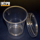 Copo plástico impresso costume do animal de estimação descartável transparente desobstruído com tampa