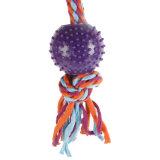 綿ロープ犬の咀嚼のおもちゃが付いている無害なPVCプラスチック球