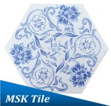 Azulejo azul y blanco Mskqhc005 de la inyección de tinta del suelo del hexágono