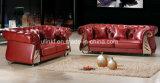 Sofá de cuero moderno de la recepción del hotel de los muebles de la sala de estar (HX-SN045)