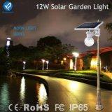 luz psta solar do jardim do diodo emissor de luz 12W com painel ajustável