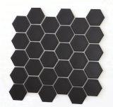 Tuiles de mosaïque en verre hexagonales de noir de matériau de construction