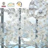 Flor exquisita del bordado 3D del cordón de la alineada de boda con los granos 129