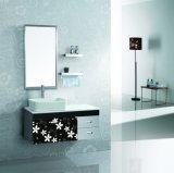 デザインPVCカバー浴室の家具のポーランドの流行の壁は浴室の虚栄心をハングさせた