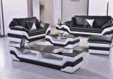 Modernes Sofa für Wohnzimmer-Leder-Möbel mit Kaffeetisch-Schwarzem/Weiß