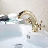 Faucet montado da bacia do banho da pintura do ouro de Flg plataforma de bronze