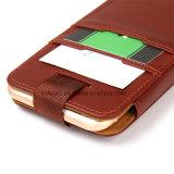 Cassa di cuoio del telefono del sacchetto con il caso nome di iPhone delle fessure per carta