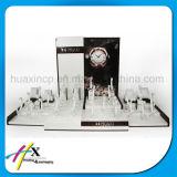 Soporte de visualización de madera del reloj del diseño de lujo con insignia de encargo