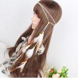 Frauen-Dame Elastic Hair Bands mit Feder-Anhänger