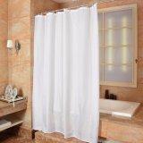 Cortina de chuveiro impermeável branca pura do banheiro da tela do poliéster (04S0014)