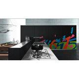 Armadio da cucina di legno di colore di contrasto bianco e nero di alta lucentezza