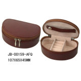 Semi-Circle Shape Zipper Travel Jewelry Box Gift Box de jóias