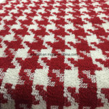 Rotes Houndstooth Check-Wolle-Gewebe in betriebsbereitem