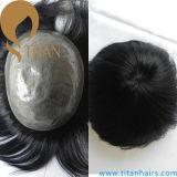 Toupee 100% кожи системы PU человеческих волос тонкий