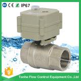 2 vávula de bola motorizada eléctrica del agua de la manera Ss304